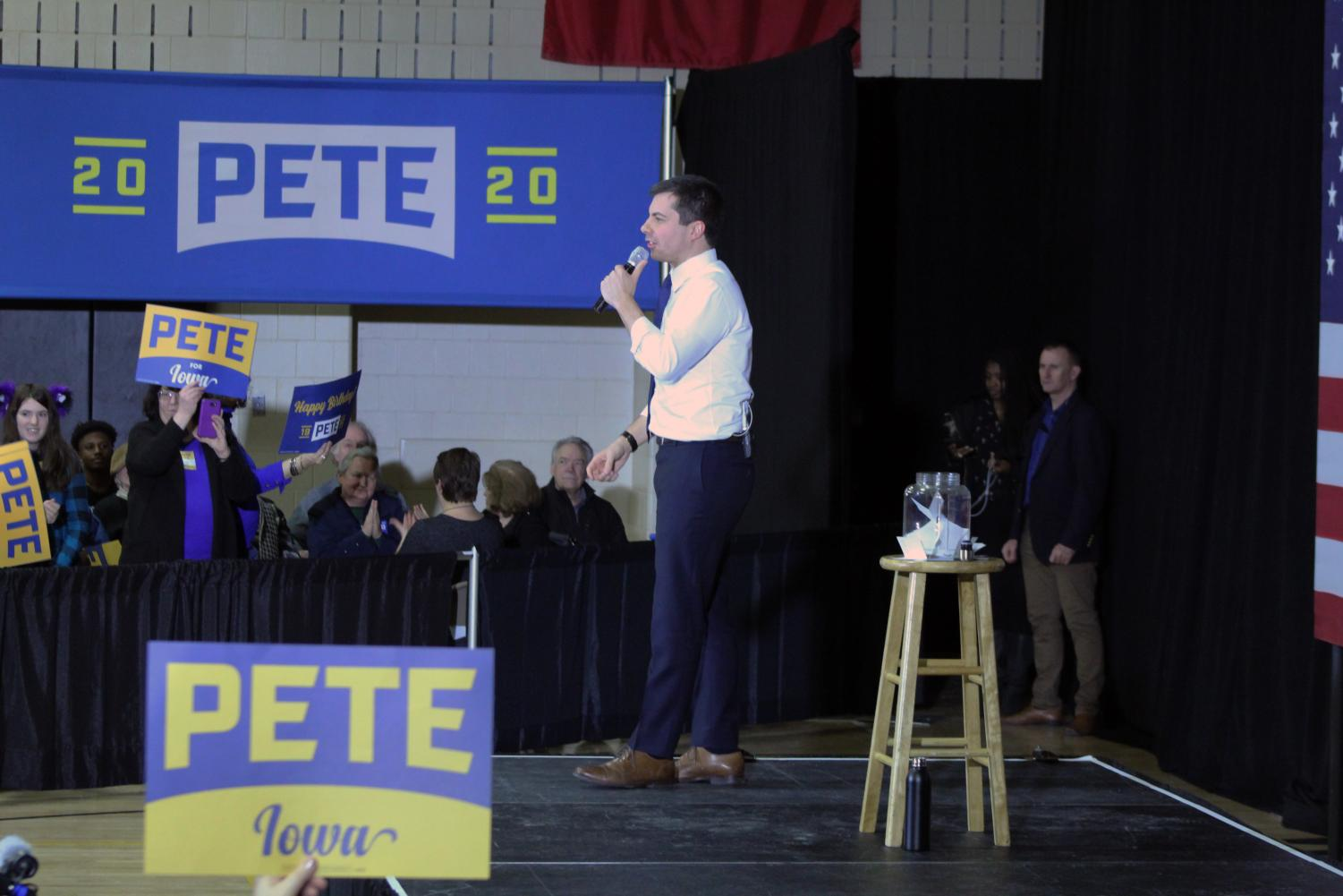 Presidential hopeful Pete Buttigieg visits Wilson Middle School on January 18, 2020.