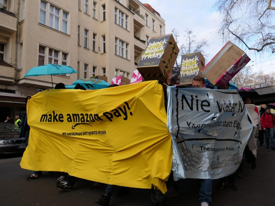 Protestors+in+Berlin+hold+a+demonstration+against+Amazon%27s+tax+policy+and+treatment+of+workers+on+Nov.+24%2C+2017.+Multiple+protests+have+been+held+by+Amazon+employees+all+over+the+world+against+the+company.