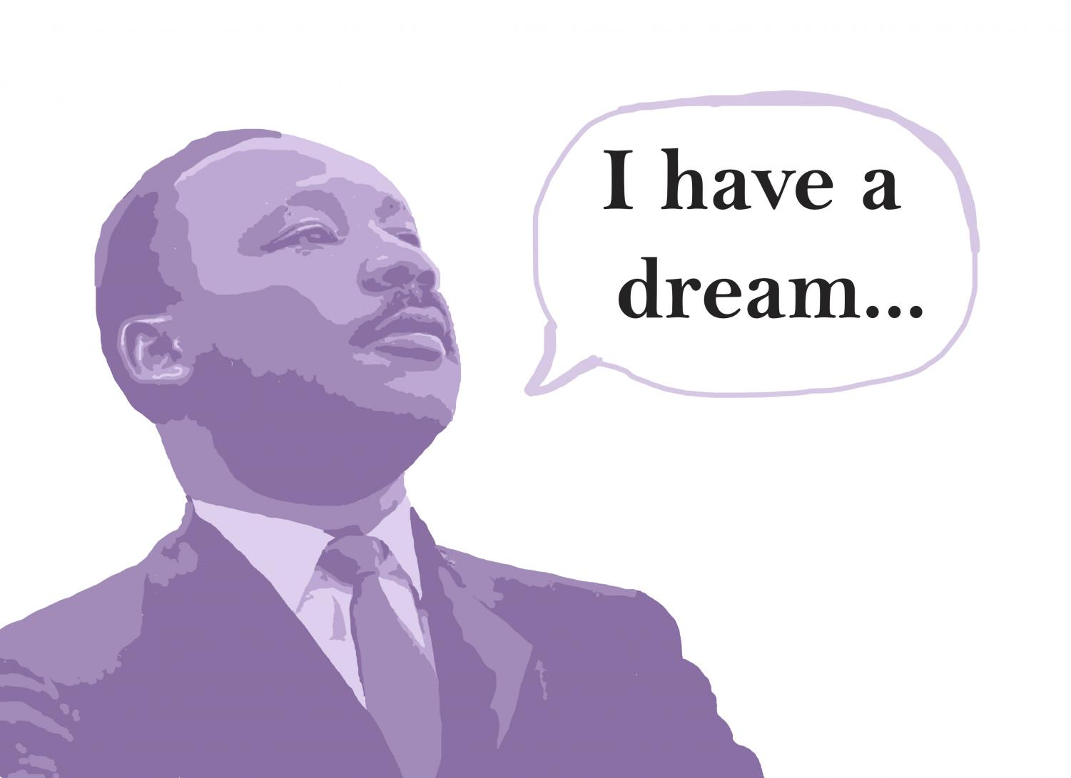 Photo illustration of Dr. Martin Luther King Jr. giving his