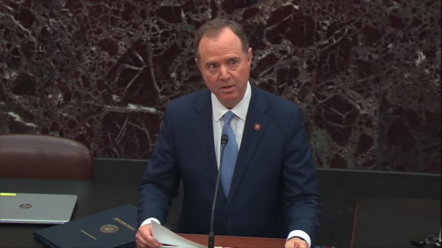 Representative Adam Schiff reads articles of impeachment before the Senate on Jan. 16, 2020.