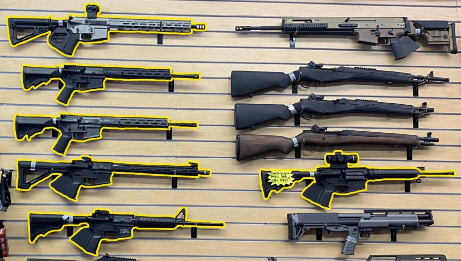 Consumer+AR-15+rifles+on+sale+at+a+bay+area+gun+store.