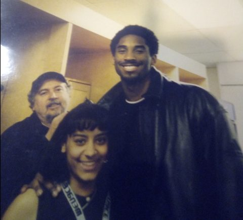 Journalism Adviser Kristen Hunter Flores poses with Kobe Bryant in his second year with the Lakers.