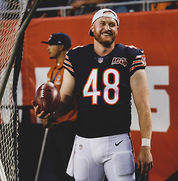 Chicago Bears long snapper Patrick Scales stands on the sidelines during the 2019-20 NFL season.