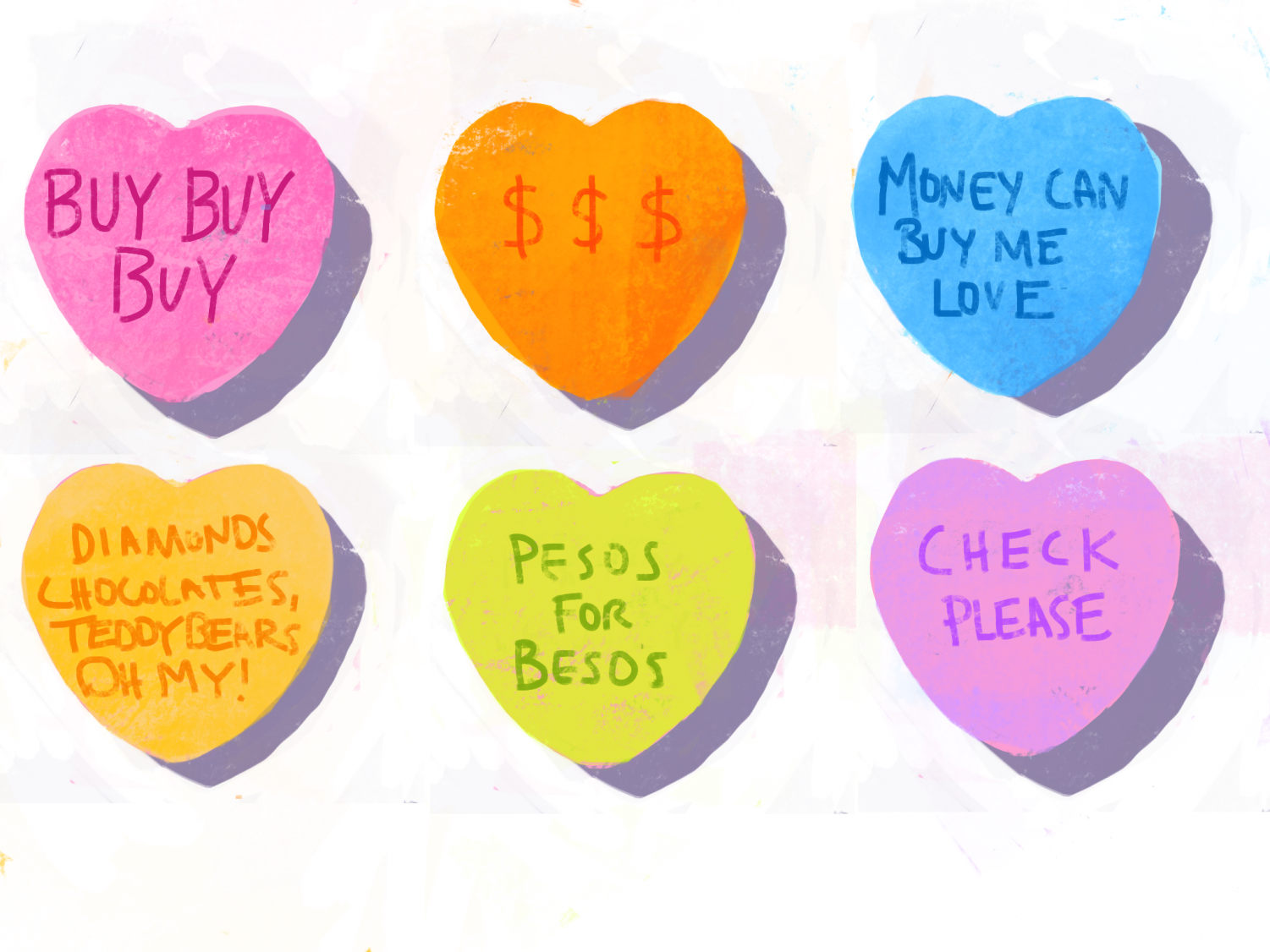 The expectation of spending big bucks on Valentine's Day emerged in the 1980s when the holiday took on its current capitalist form. Advertisements began pushing the idea of buying jewelry, chocolates and other presents for your valentine. Cartoon by Bella Russo