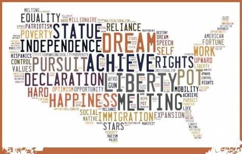 The words that make up the drawing of America symbolize what goes in and what comes out of the American dream.