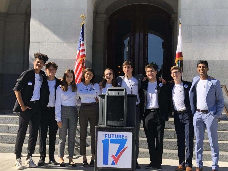 Oak+Park+High+School+student+Alex+Goldbeck+and+other+students+from+around+the+state+rally+behind+state+senators+to+lower+the+voting+age+to+17+at+Sacramento+Capital.