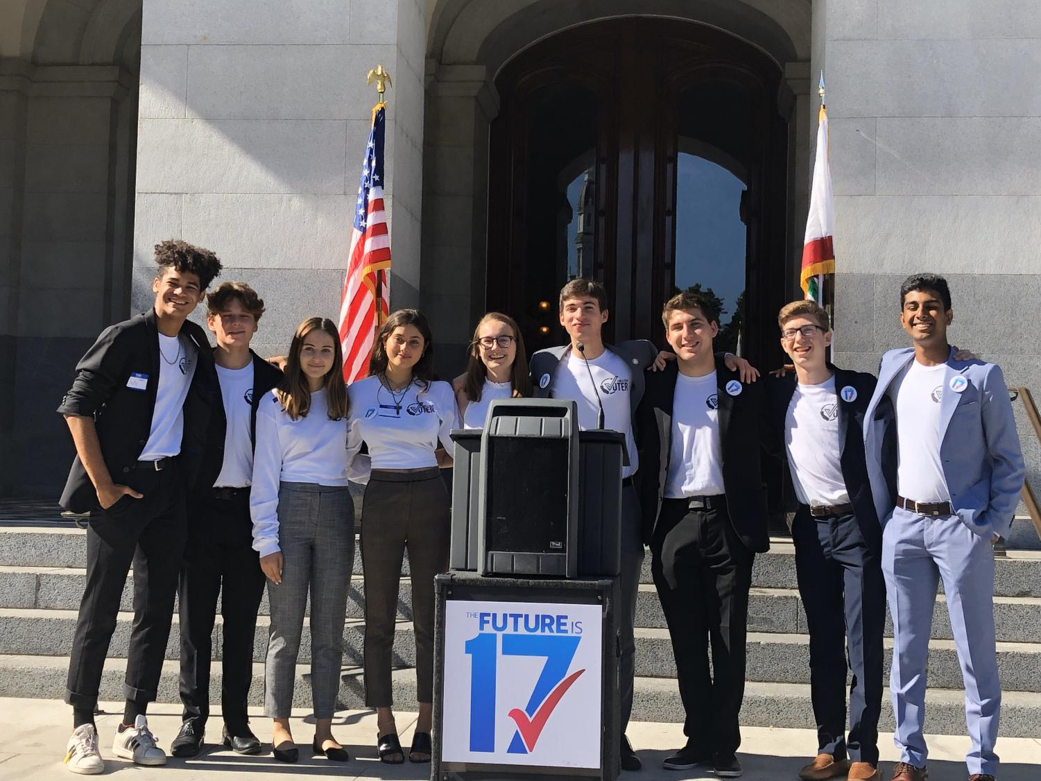 Oak Park High School student Alex Goldbeck and other students from around the state rally behind state senators to lower the voting age to 17 at Sacramento Capital.