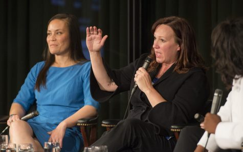 ARMED WITH IDEAS: In June, the Future Forum held a panel of women in politics at the LBJ library in Austin. Hegar was a member of the panel where she promoted herself and her campaign while also discussing her fight for gender equality in the military. The panel also included Gina Ortiz Jones (left), a former Air Force intelligence officer and at the time a candidate for Congressional District 23. The conversation was moderated by Texas Tribune reporter Alexa Undra. Photo by Jay Godwin/LBJ Library. Photo is posted here with permission provided by public domain. It was originally accessed on the LBJ Library Flickr account.