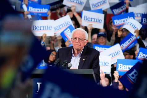 Sen. Bernie Sanders (D-VT) holds a rally hours before Super Tuesday at the Rivercentre in St. Paul, MN, on March 2, 2020.