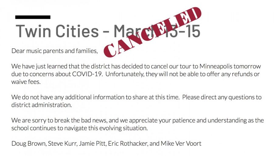 Music Department Minnesota Trip Canceled Due to COVID-19 Concerns
