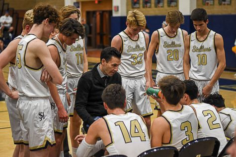 Coach E looks to inspire his team during a timeout at a league game versus El Toro High School. The Stallions defeated the Chargers, 64-59 and eventually made it to CIF.