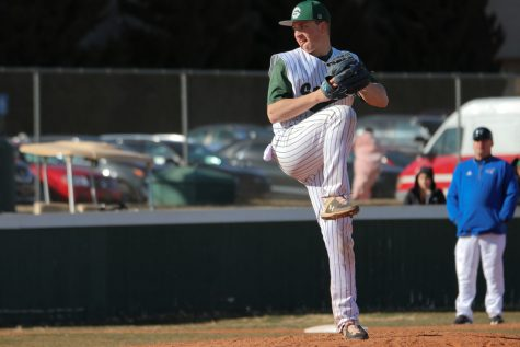 Evan Truelson, North Riddgeville, Ohio, winds up before releasing a pitch in a March 7 game against Cloud County Community College. The redshirt freshman pitched in 11 games before the season was canceled due to the COVID-19 outbreak. He split time between pitching and playing first base before all activities at Seward County Community College were canceled.