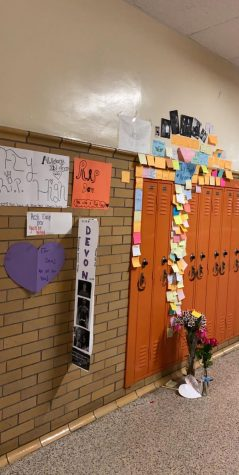 Locker memorial Students and faculty continue to add items to Devon Pfirsching's school locker.  The locker is located in the B Building.