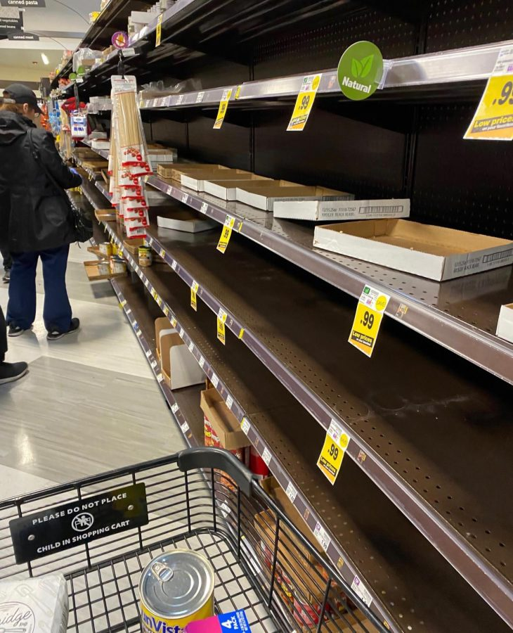 At+a+Ralphs+grocery+store+in+Encino+on+March+16%2C+the+food+isles+are+mainly+empty+as+people+buy+groceries+in+panic+after+As+Los+Angeles+Mayor+Eric+Garcetti+warns+the+public+about+outside+activities.