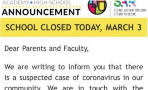 PRECAUTION: An email sent out by the SAR administration March 3 announced a temporary closure of school after a parent was diagnosed with coronavirus.