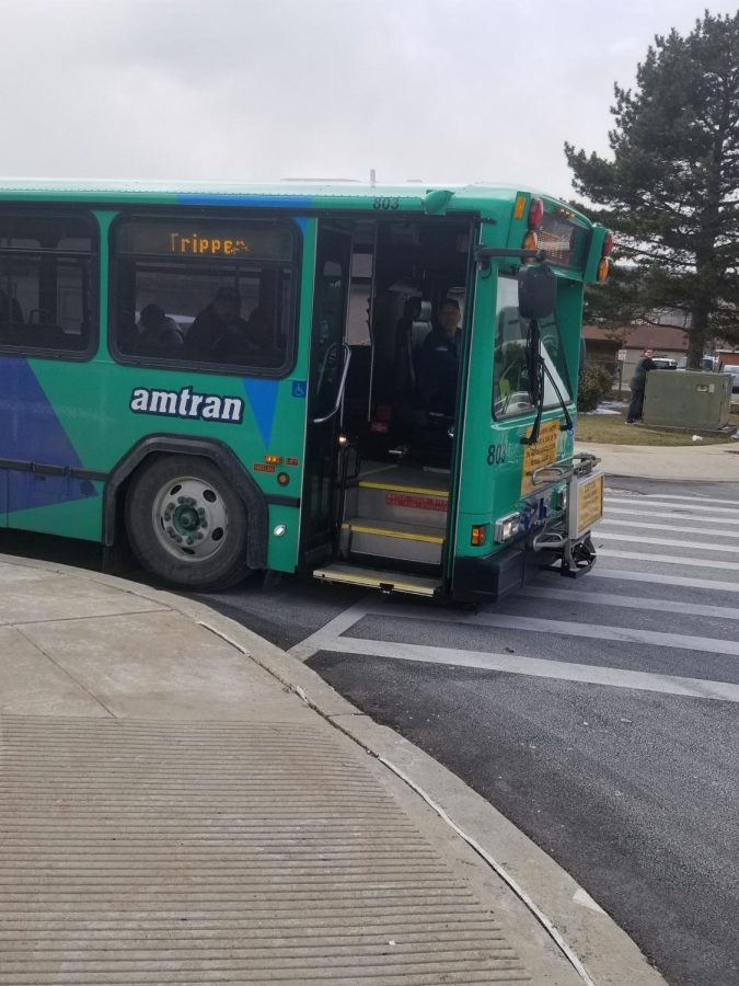 Amtran buses takes students home at the end of the day. The Amtran buses are parked outside the junior high.