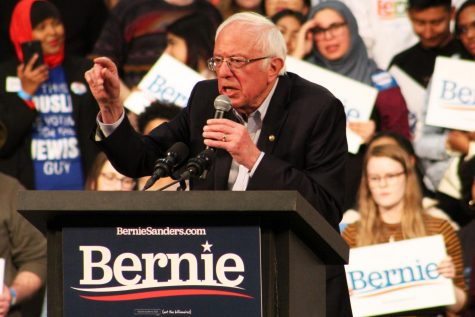 Vermont Sen. Bernie Sanders speaks to the crowd at his rally March 2 at the St. Paul RiverCentre. Minnesota, along with 13 other states, will be voting on Super Tuesday March 3.