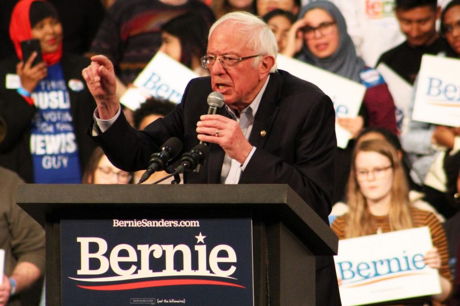 Vermont+Sen.+Bernie+Sanders+speaks+to+the+crowd+at+his+rally+March+2+at+the+St.+Paul+RiverCentre.+Minnesota%2C+along+with+13+other+states%2C+will+be+voting+on+Super+Tuesday+March+3.