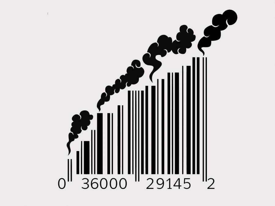 A+barcode+with+smoke+coming+out+of+it+symbolizes+the+pollution+produced+by+consumerism.