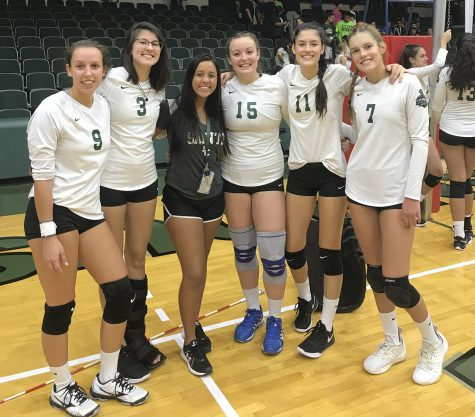 The Lady Saints volleyball team is made up of many International students from Brazil. Victoria Martins (center) is also from Brazil and she enjoys going to the girls game and showing them some support. Pictured with Martins are Djuly Schmorantz, Fabiana Petkowicz, Thais Vieira, Laura de Pra, and Livia de Pra.