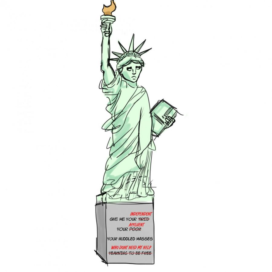 The+Statue+of+Liberty%27s+original+inscription+of+Emma+Lazarus%27s+poem+is+reworded+to+say+%22Give+me+your+independent%2C+your+affluent%2C+your+huddled+masses+who+don%27t+need+my+help%2C%22+symbolizing+the+Supreme+Court+decision%27s+message+to+America%27s+immigrant+population.