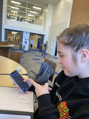 """Sophomore Mallory Hawkins uses a tracking app called """"Find my iPhone""""."""