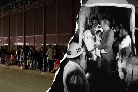 Left: U.S. border patrol stops a large group of immigrants who were allegedly crossing the border illegally. Right: President Ford carries a South Vietnamese orphan during Operation Babylift in 1975.