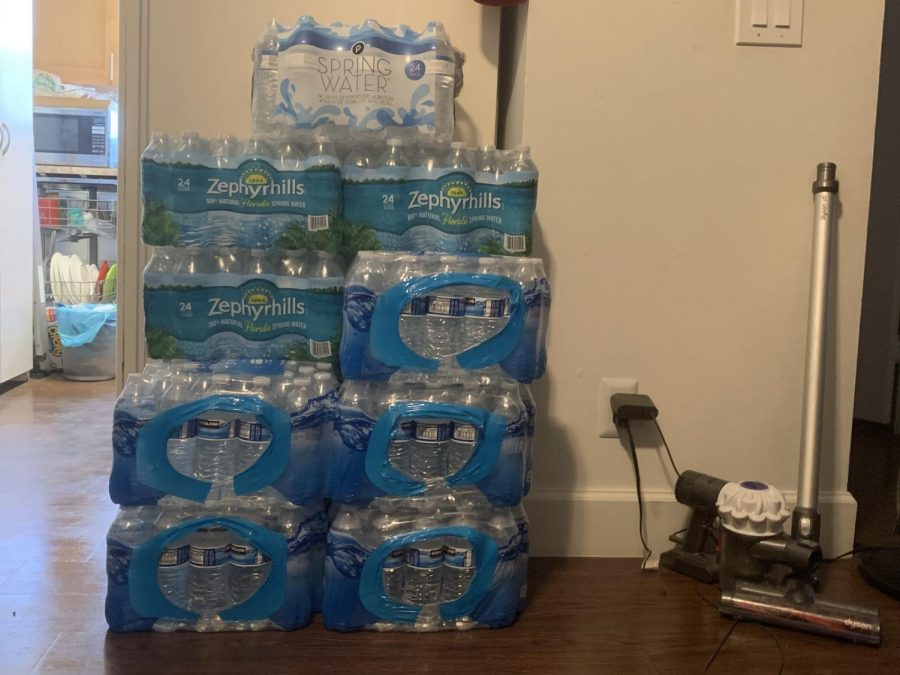 A+stack+of+boxed+water+bottles+lay+on+the+side+of+communication+sophomore+Alyssa+Jean-Louis%E2%80%99+kitchen.+