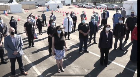 El Monte Community Hospital teams up with LA county and El Monte Representatives as COVID-19 testing site opens at San Gabriel Valley Airport Wednesday morning.
