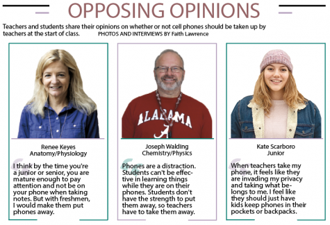 Teachers and students share their opinions on whether or not cell phones should be taken up by teachers at the beginning of class.