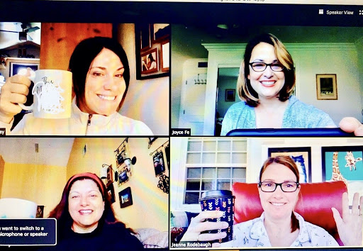 From left to right clockwise, English teachers Tessa Heaney, Joyce Feuerborn, Jeanne Rodebaugh and Regina Parga, discuss online English strategies during their first 9 a.m. meeting on video chat program, Zoom.