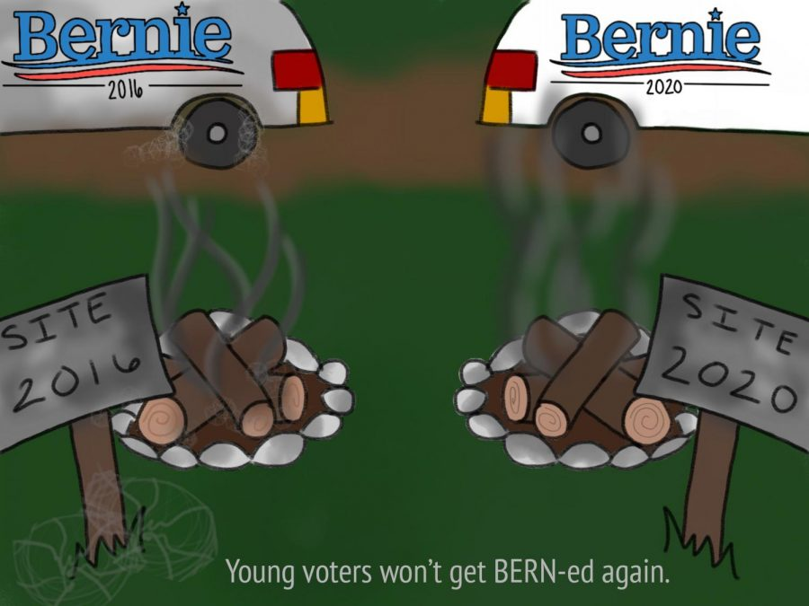 Sanders again won't be the Democratic nominee after once again surrendering the nomination to a veteran moderate Democrat. He has remained on the ballot in states with future primaries in order to earn delegates to influence the party's platform moving forward. Illustration by Anna McClellan.