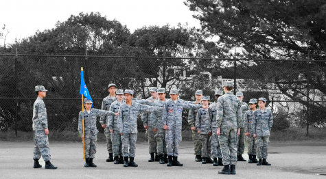 The cadets of delta flight align themselves arms length apart via the command: dress right, dress. They are in formation and are preparing for their graduation of Airman Training School at the San Francisco National Guard Armory.