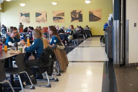 Anoka-Ramsey community members sitting in the Riverside Cafe on the Coon Rapids campus. Aladdin Food Services supplies the food for this cafe.