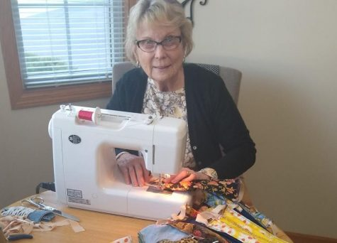 Boutwells Landing resident Judy Rubertus sews masks for distribution around the community. Sewing a total of 500 masks is just one of the many ways Rubertus is managing to stay busy and involved.