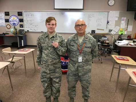On Monday, April 8, 2019, senior Phillip Meadows (left), received a rank promotion. He is pictured with his major, Jeffrey Dorman. Meadows has been a cadet in the Air Force Junior Reserve Officer Training Corps (AFJROTC) throughout all four years of high school.