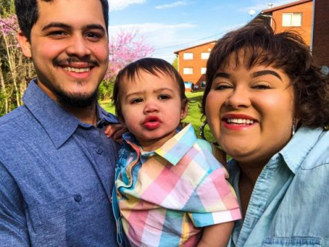 From left to right, Allen's boyfriend Edward Santiago and her have lived together for the past two years. After testing positive for COVID-19 last month, Allen has taken precautions to protect her son, Lyam Santiago (middle) and her boyfriend while they all have been living under the same roof.