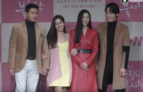 "The cast of ""Crash Landing on You"" attends a promotional event (from left to right: Hyun Bin (Ri Jeong Hyeok), Son Ye-Jin (Yoon Se-Ri), Seo Ji-Hye (Seo Dan), and Kim Jung-Hyun (Gu Seung-Joon))."