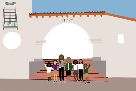 An artistic illustration by Leslie Castaneda. The graphic represents students of color standing in front of the entrance of Archer.