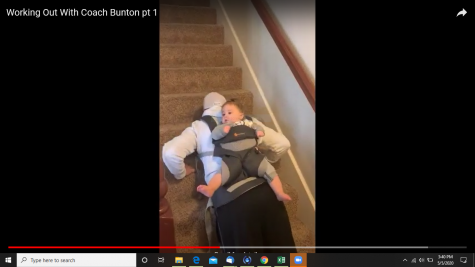 Mr. Michael Bunton made workout videos for his students stuck at home. He is finding fun ways to incorporate his daughter in his routine to put a smile on his viewers faces.
