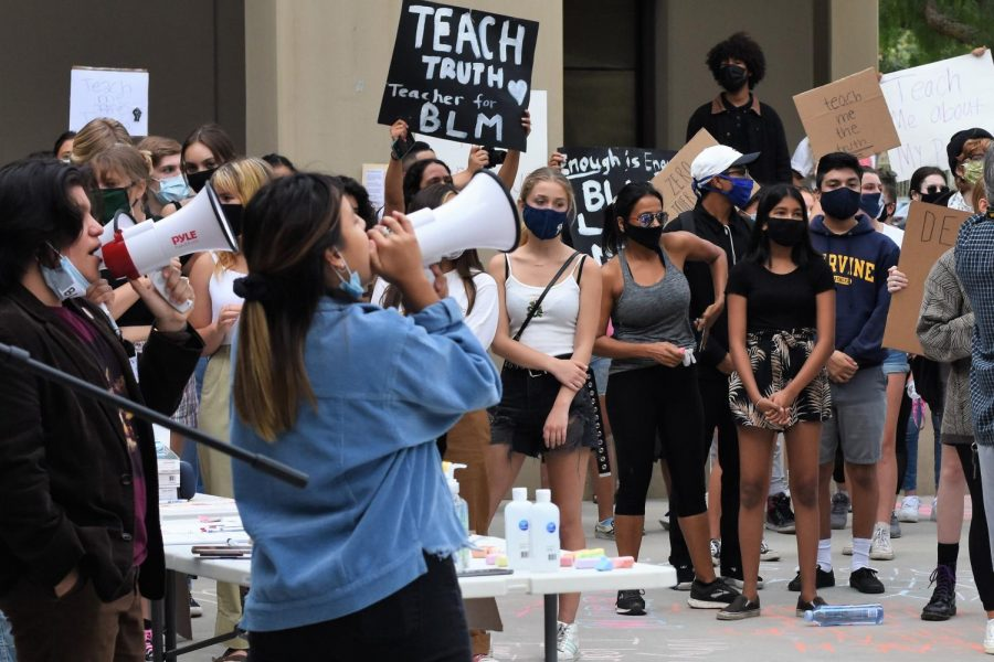 Student advocates for CUSDAgainstRacism call upon the Capistrano Unified School District school board to address the widespread discrimination and racism occurring in CUSD schools. The crowd watching the students are all current or former CUSD students, parents, and teachers.