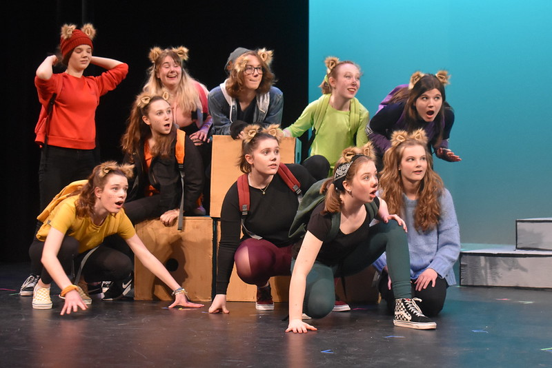 Wayland+High+School+Theater+Ensemble+performs+last+spring%27s+play%2C+%22Squirrel+Girl+Goes+to+College.%22+WHSTE+has+had+to+adapt+to+the+new+challenges+posed+by+the+pandemic.+%E2%80%9CWHSTE%27s+season+won%27t+be+the+same+this+year%2C+but+that%27s+okay%2C%E2%80%9D+senior+Madeline+Maurer+said.+%E2%80%9CTheater+without+hiccups%2C+without+experimentation%2C+without+roadblocks%2C+isn%27t+theater.+Good+theater+welcomes+weirdness+and+allows+for+non-traditional+methods+of+storytelling.%E2%80%9D