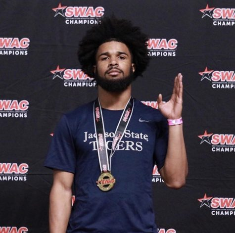 Jackson State University junior Christian McNair-Jones poses after finishing first in the 60 meter hurdles at the 2020 Southwestern Athletic Conference Indoor Track and Field Championships.