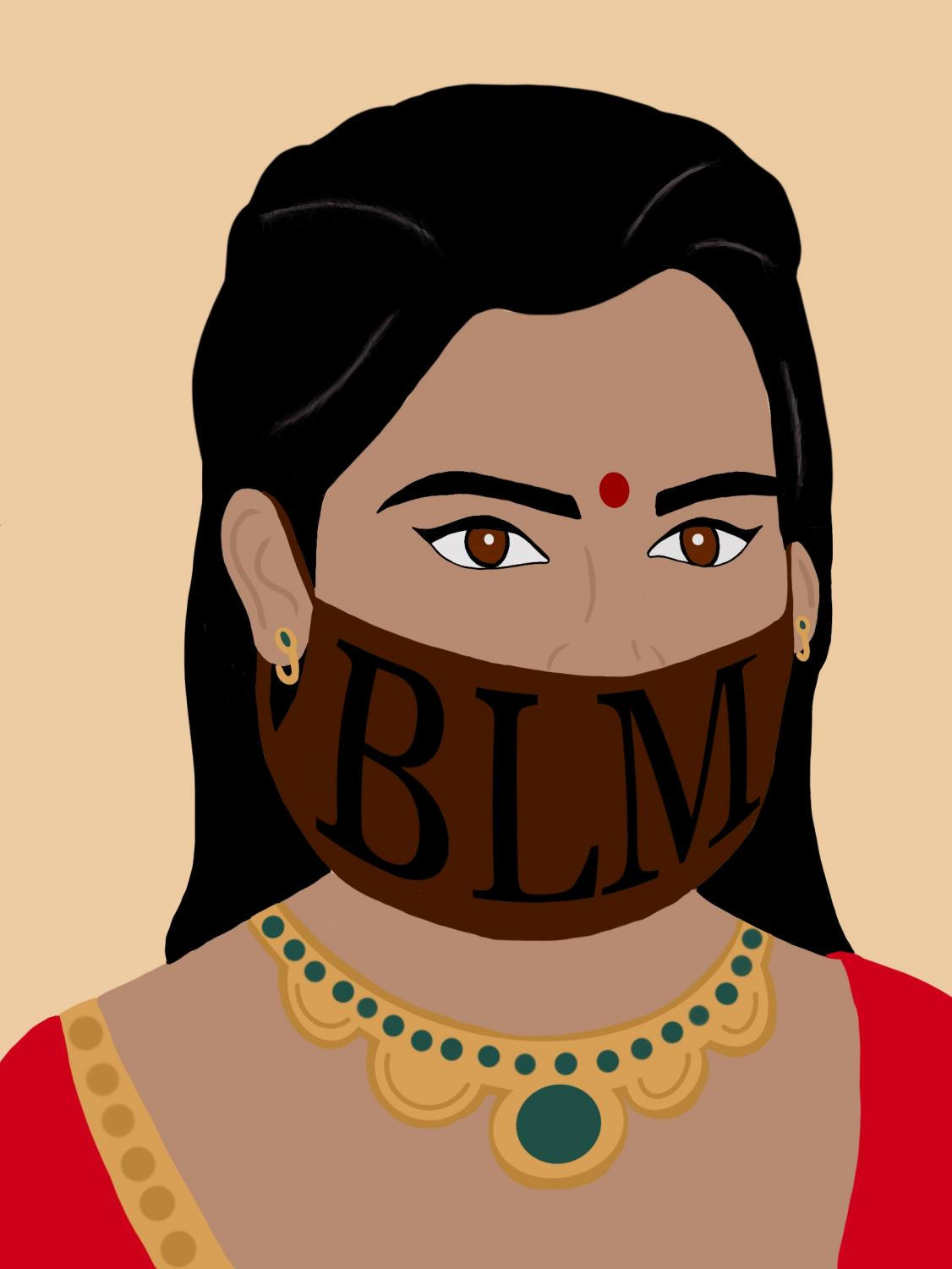 Digital drawing of an Indian woman wearing a Black Lives Matter mask.