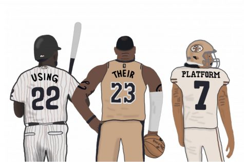 Andrew McCutchen, LeBron James and Colin Kaepernick are leading figures of the Black Lives Matter movement within their respective sports. Art by Hayden Davidson.