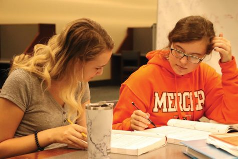 Mercer students study in Tarver Library's 24 hour study floor.