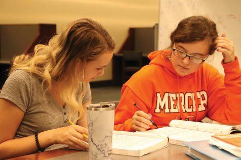 Mercer students study in Tarver Library's 24 hour study floor.