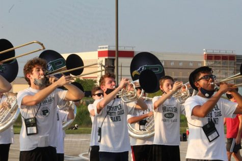 "With their horns up, the Prosper Mighty Eagle Band practices their 2020 halftime show. The band is set to perform their show with scores from Earth Wind and Fire at home football games. ""I am sad that we won"