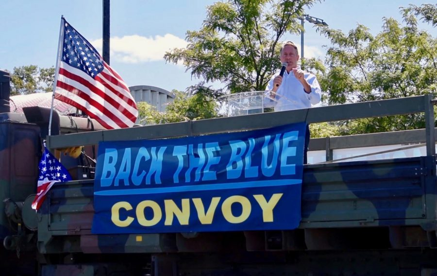 Former+Westchester+County+Executive+and+candidate+for+New+York+State+Senate+Rob+Astorino+speaks+at+a+Back+the+Blue+Rally+in+Tarrytown+on+Sept.+12.+The+rally+and+ensuing+convoy+drew+a+crowd+of+a+few+hundred.+