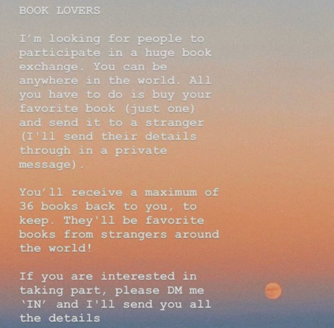 An advertisement for the international book exchange made by participant Lara Nobleman to post on her Instagram story and spread the word about the swap.